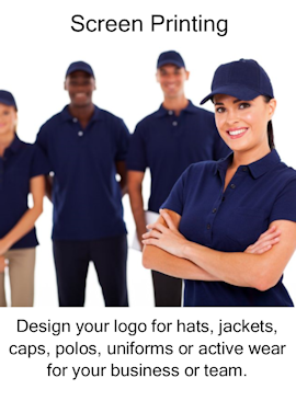 logo wear screen printing, for hats, jackets, caps, polos, uniforms, active wear, business, team.